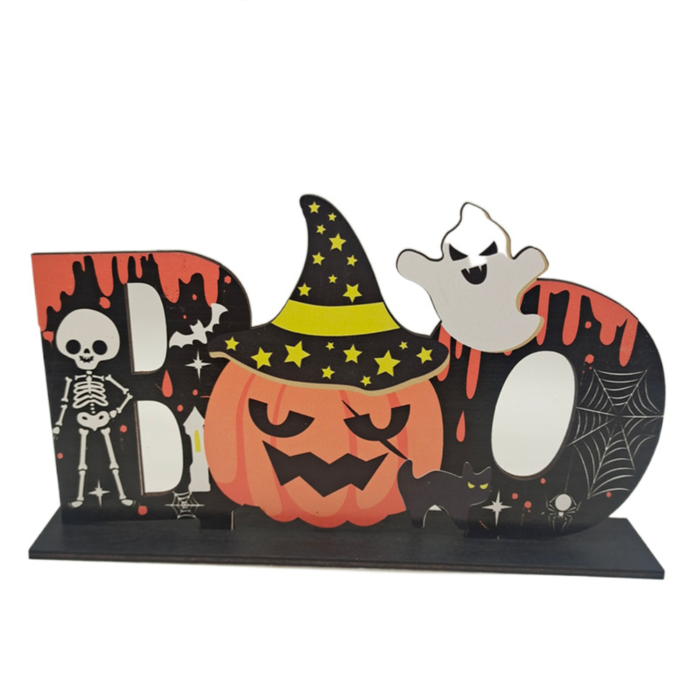 Wooden  Pendant Halloween Pumpkin Skull Spider Bat Party Scene Decorative Ornaments No. 15 27*17CM weighs 79 grams