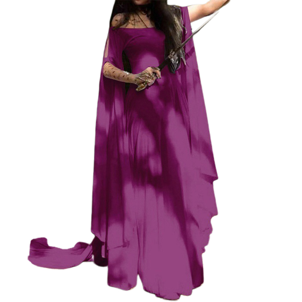 Party Long Sleeve Belt Ladies Dress Halloween Dress purple_L