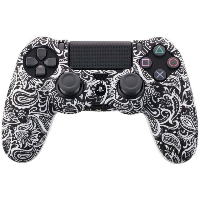 Camouflage Case Graffiti Studded Dots Silicone Rubber Gel Skin for Sony PS4 Slim/Pro Controller Cover Case for Dualshock4 Digital black and white