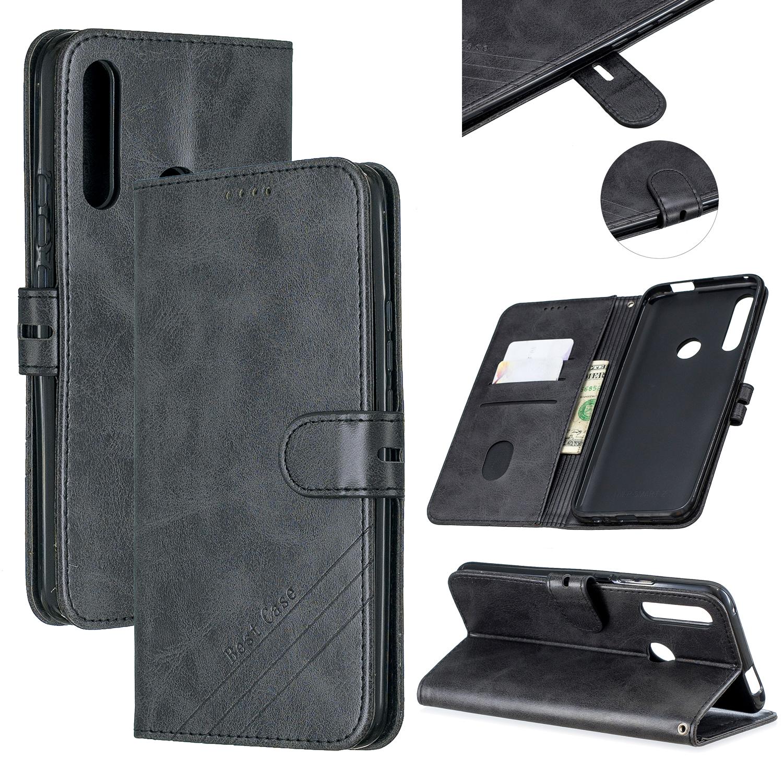 For HUAWEI Y9 Prime 2019-P Smart Z Solid Color Denim Grain Front Buckle Mobile Phone Cover Bracket black