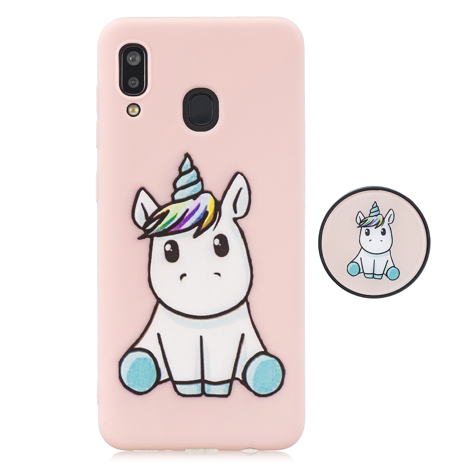 For Samsung A30 A20 TPU Full Cover Cartoon Pattern Solid Color Protective Phone Case with Adjustable Bracket 6