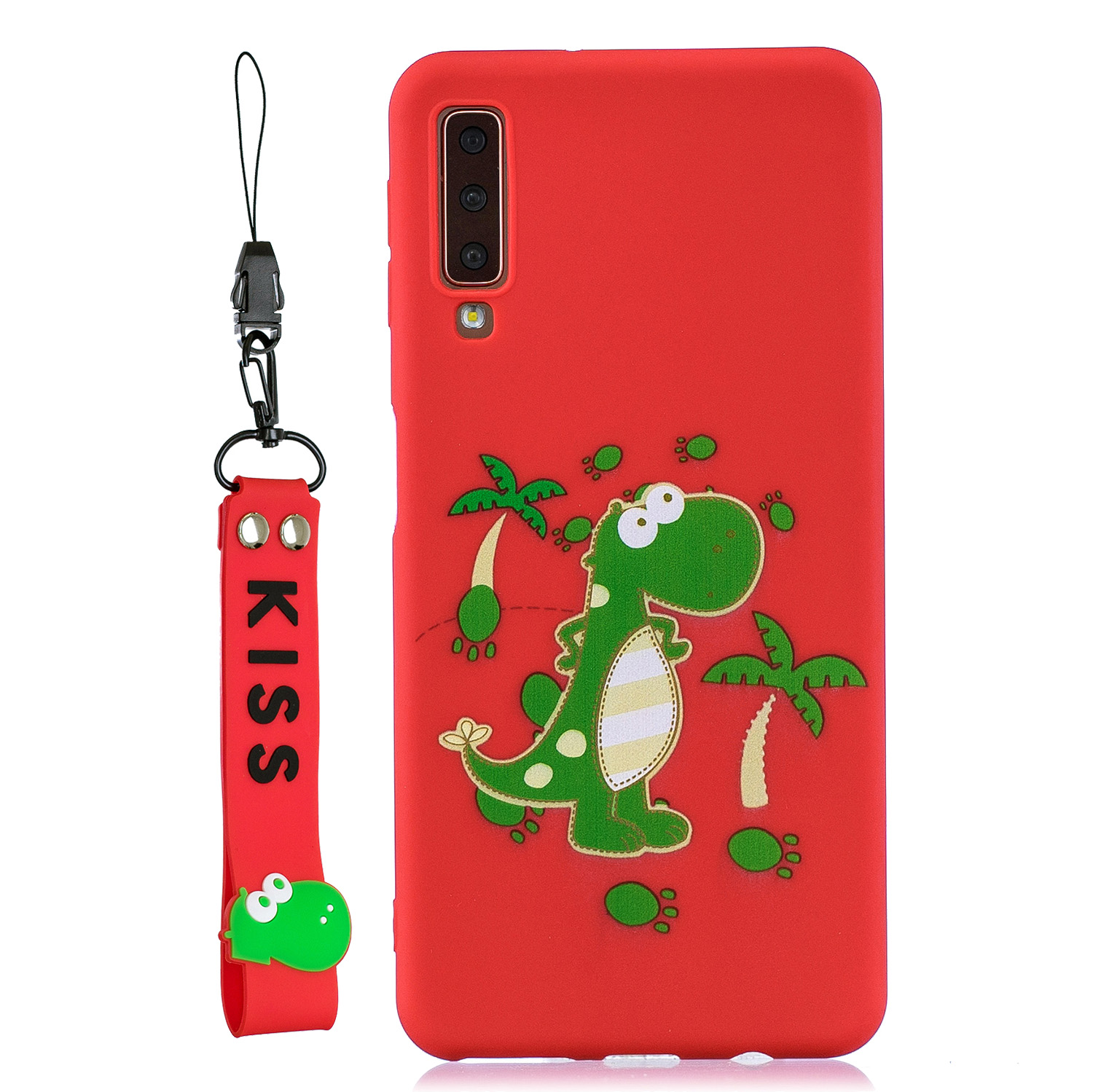 For Samsung A7 2018 Cartoon Lovely Coloured Painted Soft TPU Back Cover Non-slip Shockproof Full Protective Case with Lanyard red