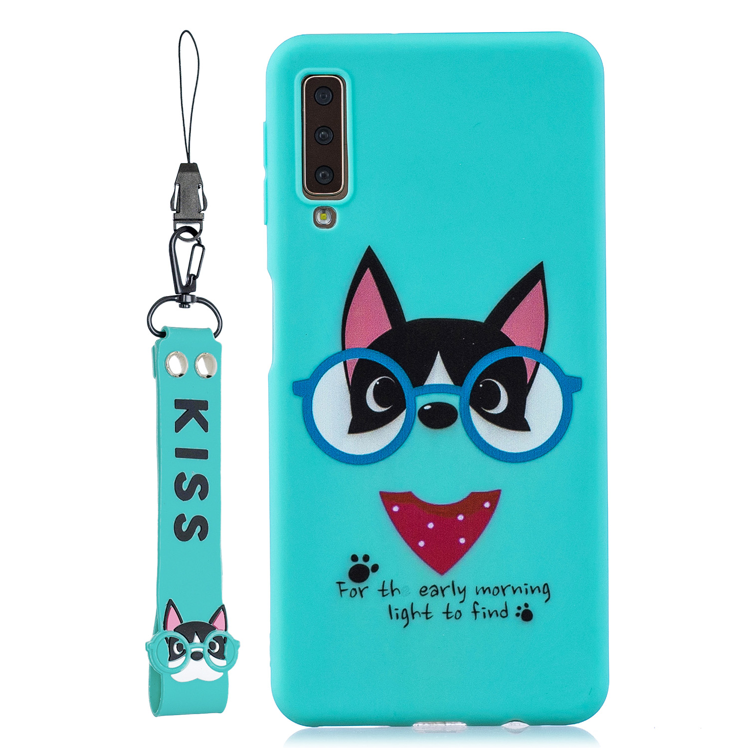 For Samsung A7 2018 Cartoon Lovely Coloured Painted Soft TPU Back Cover Non-slip Shockproof Full Protective Case with Lanyard Light blue
