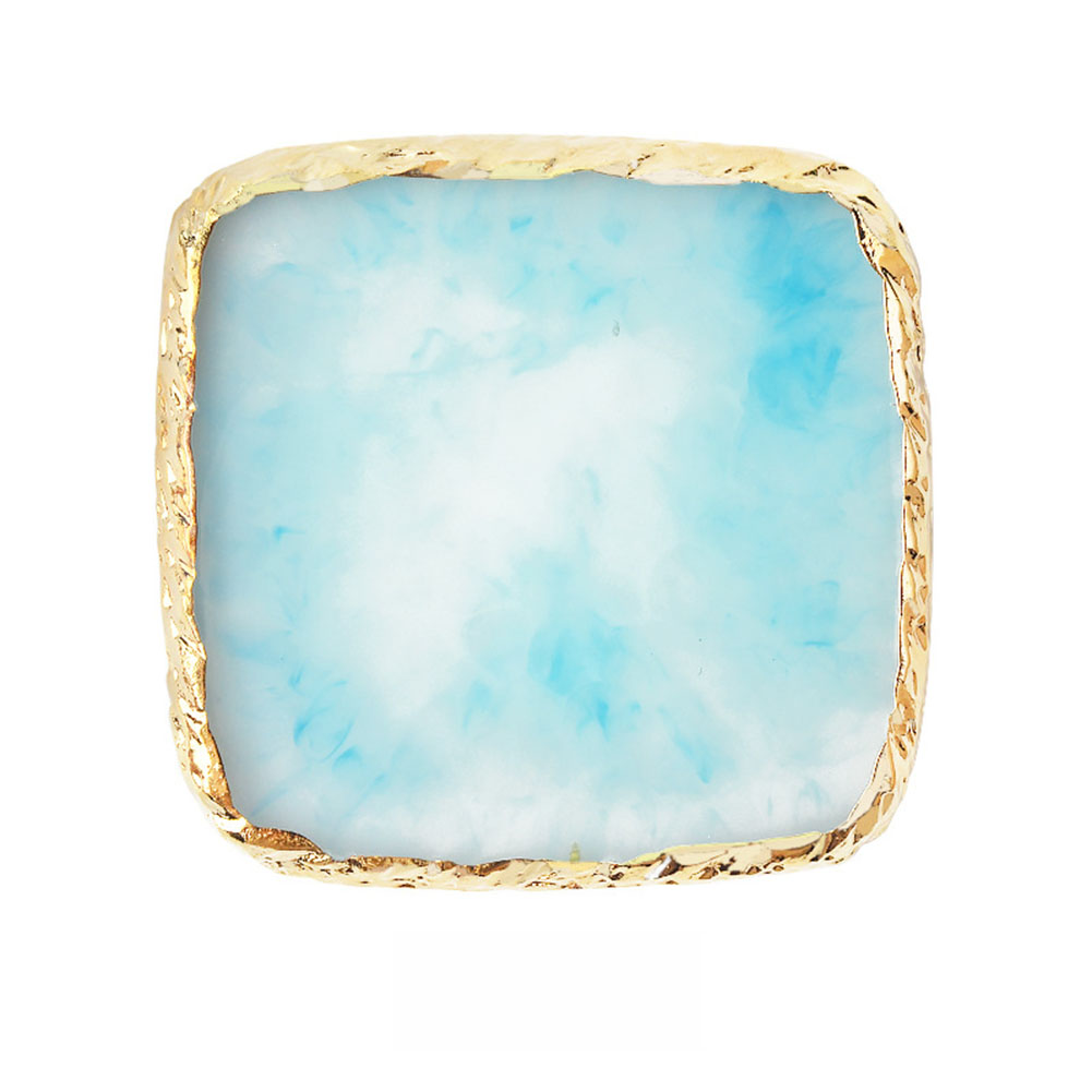 Natural Resin Stone Nail Art Color Palette Acrylic Gel Polish Holder Drawing Color Paint Dish Glue Pallet Display 3# blue