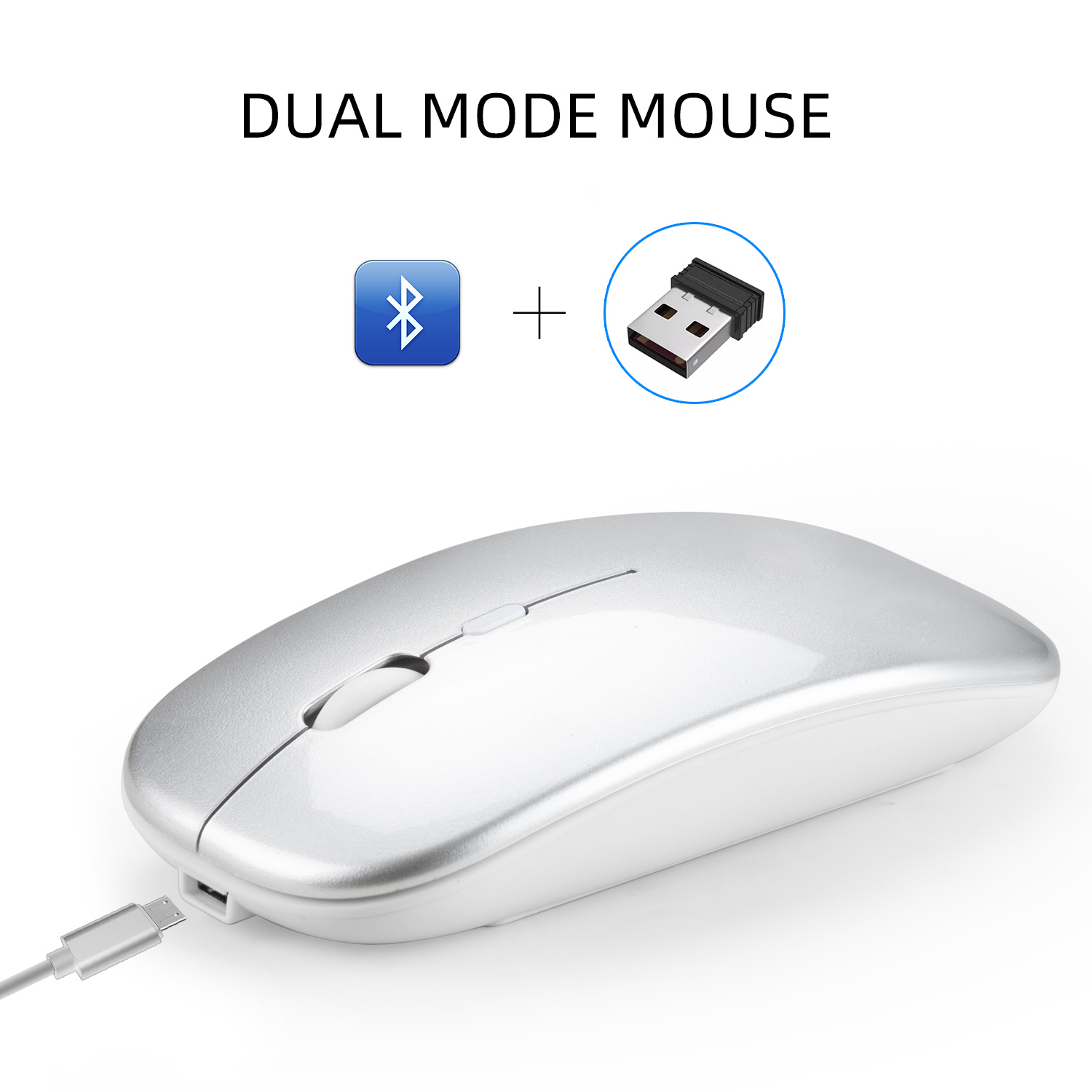 Dual Mode Bluetooth 4.0 + 2.4G Wireless Mute Computer Mouse for PC Laptop Silver