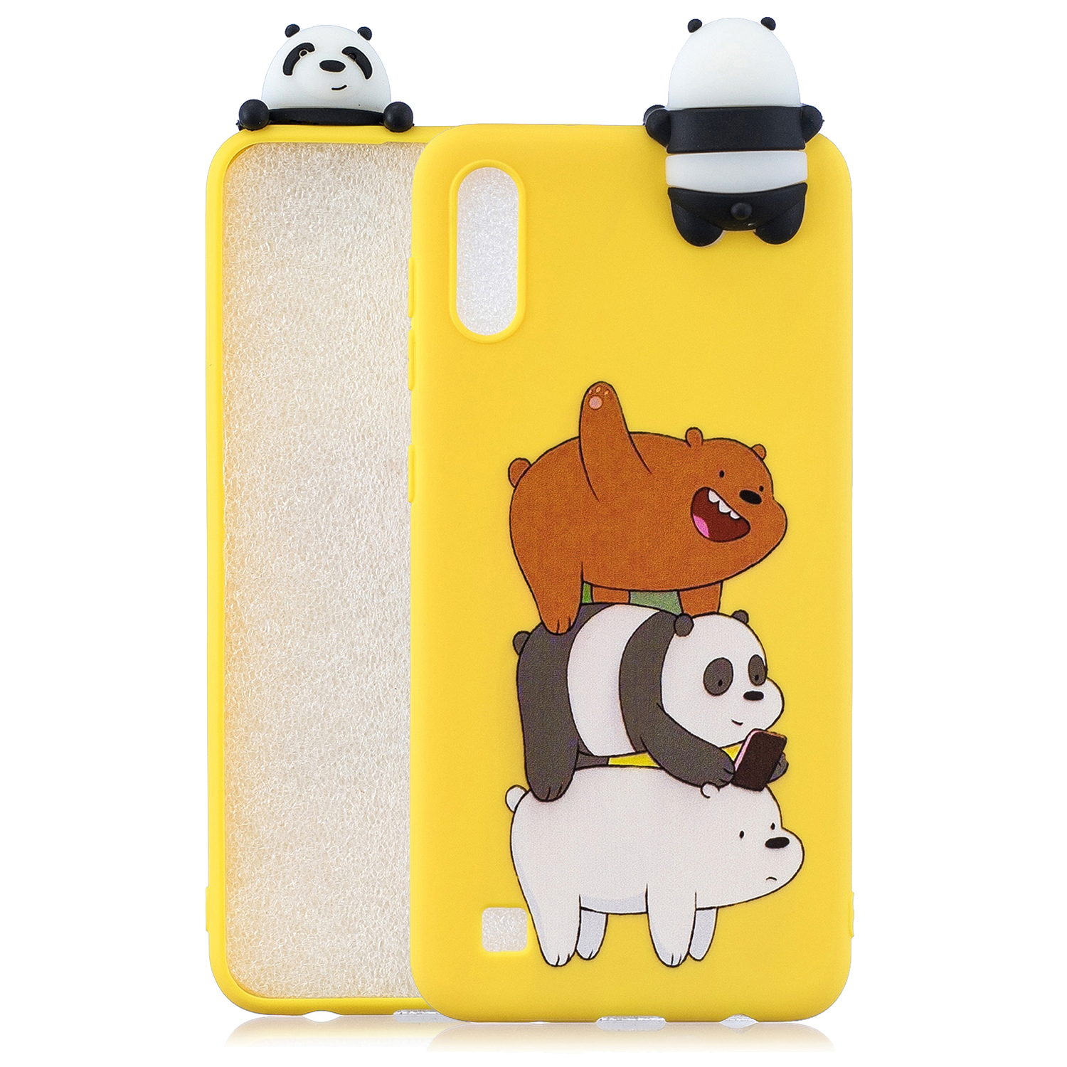 For Samsung A01 Soft TPU Case Back Cover 3D Cartoon Painting Mobile Phone Shell Striped bear