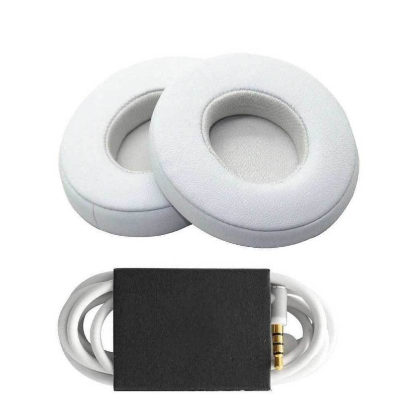 Replacement Ear Pads Cushion+ Audio Cable Cord for Beats by Dr Dre Solo 2 Wired Earphone white