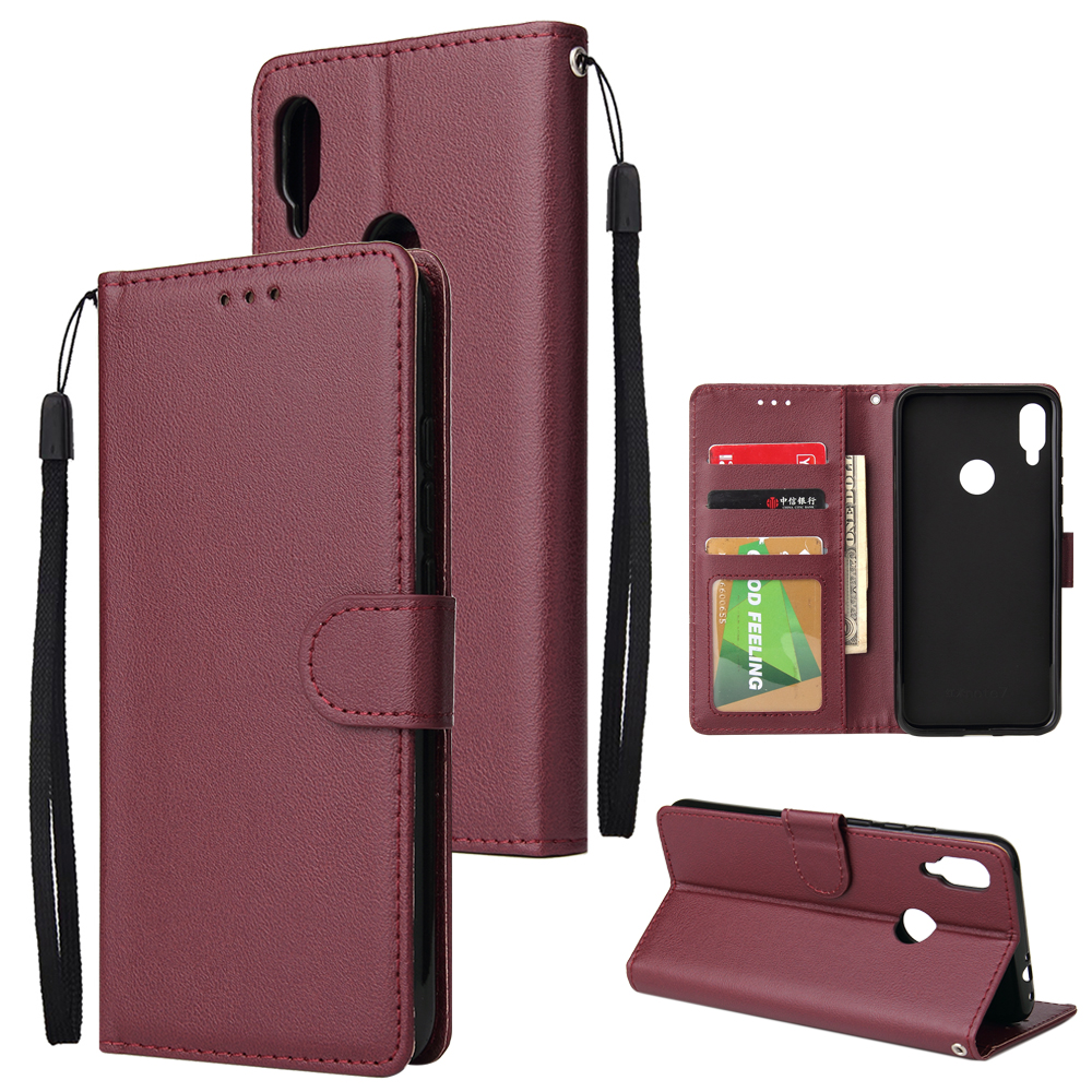 For Redmi note 7/Redmi note 7pro Flip-type Leather Protective Phone Case with 3 Card Position Buckle Design Phone Cover  Red wine