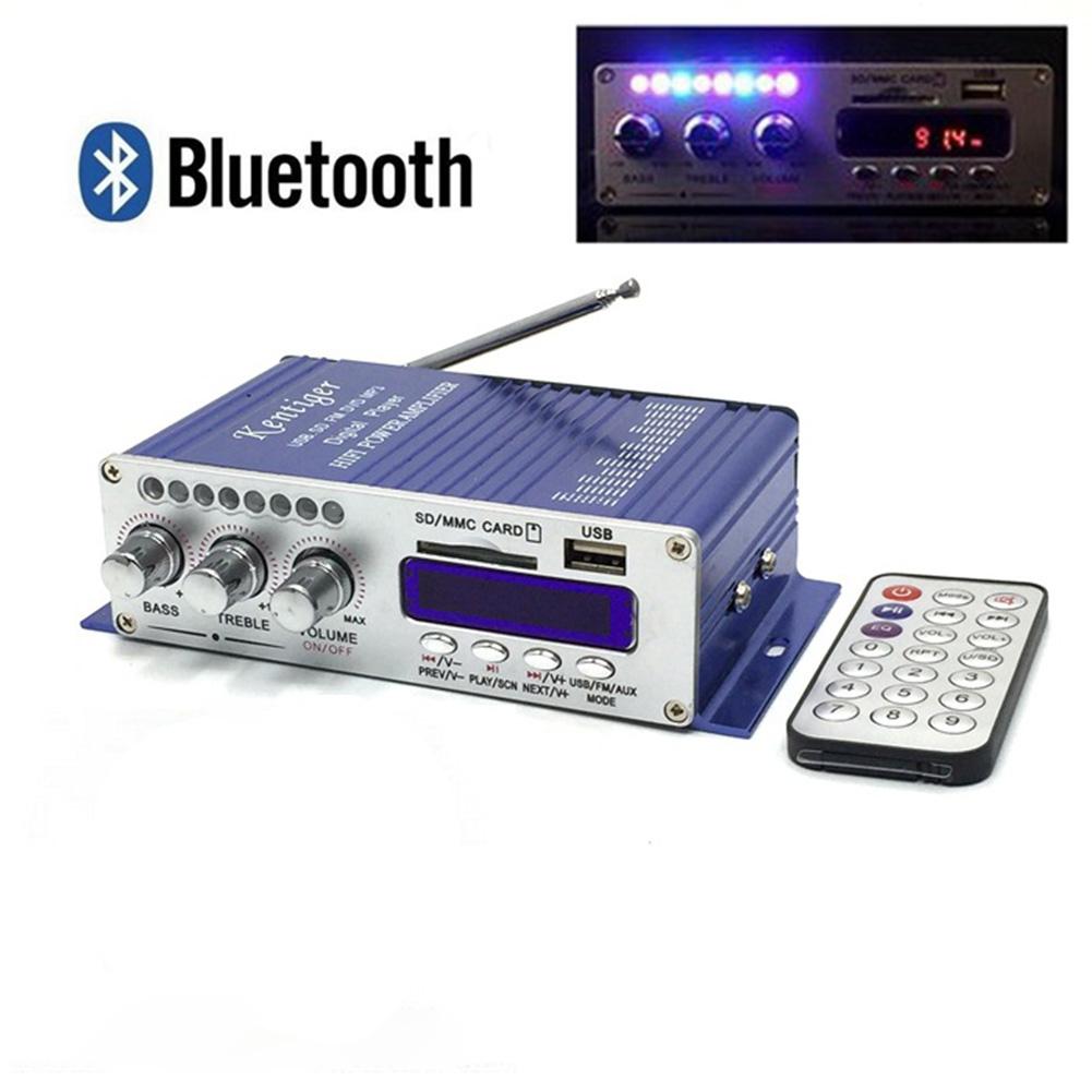 502S Mini Bluetooth Amplifier Remote Control USB/SD Card Player FM Radio Power Amplifier 12V blue Bluetooth power amplifier
