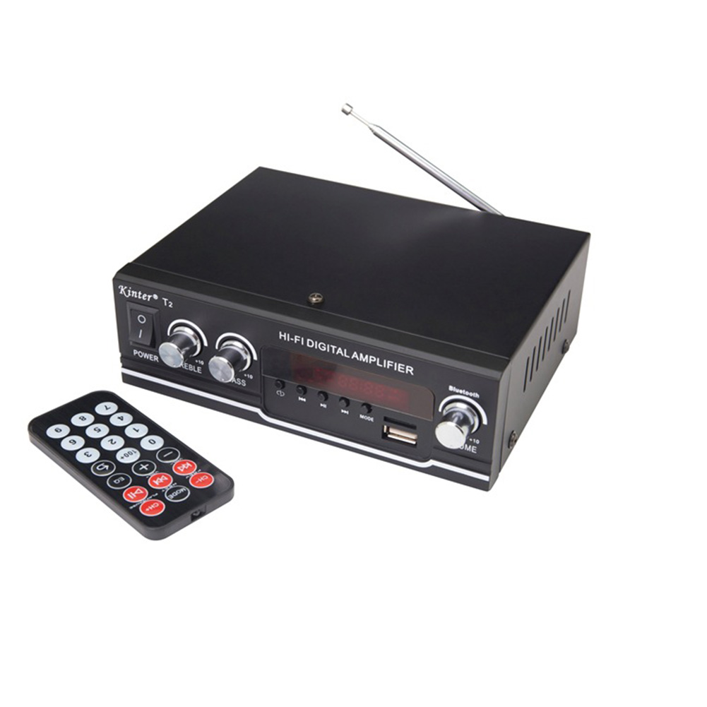 T2 Hifi Car Amplifier Audio 2.0ch 20w Stereo Sound For Bluetooth Usb Tf Input Fm Radio Supply Power Ac220v Dc 12v Black black_National standard