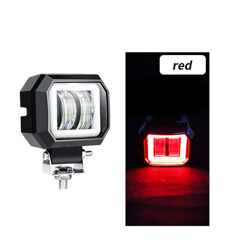 2 Pack3 Inch 20w Offroad Led Work Light Waterproof 12v 24v Suv Atv Truck Motor Headlights 4x4 Car Led Red circle