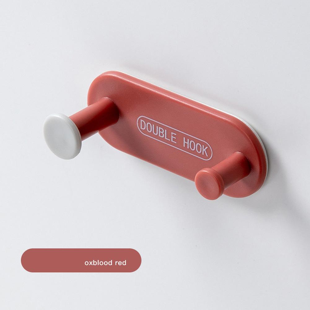 Storage Hooks Punch-free Bathroom Wall Hook Door Coat Rack Hanger Multi-functional Row Hook Dark red