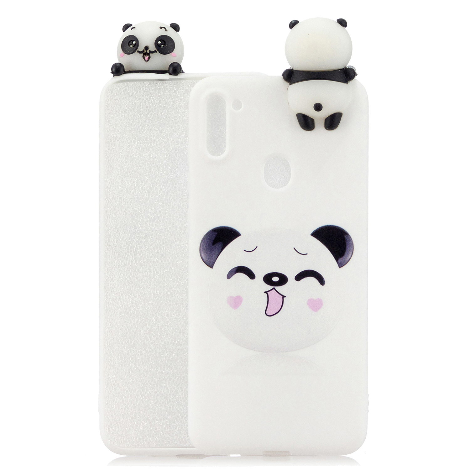 For Samsung A11 TPU Back Cover 3D Cartoon Painting Soft Mobile Phone Case Shell Smiley panda