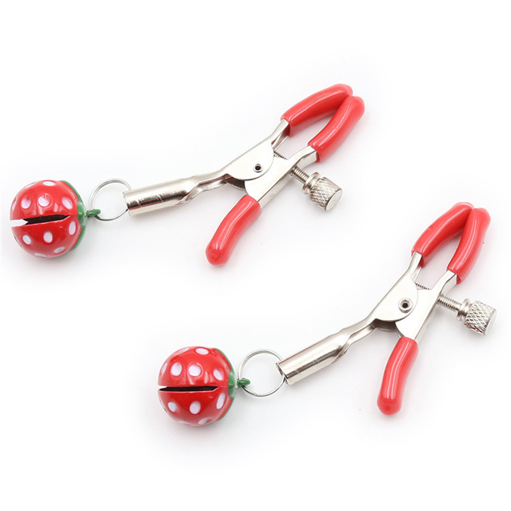 2pcs Tension Adjustable Stainless Steel Strawberry Nipple Clips Sex Toys for Couples Big strawberry short milk clip red