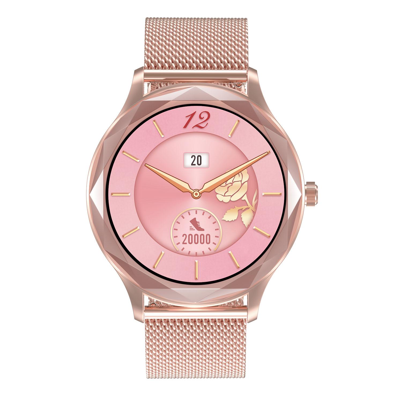 Dt86 Men Women Smart Watch Heart Rate Blood Pressure Monitor Sports Ip67 Waterproof Bluetooth Smartwatch 01 Steel belt-Pink