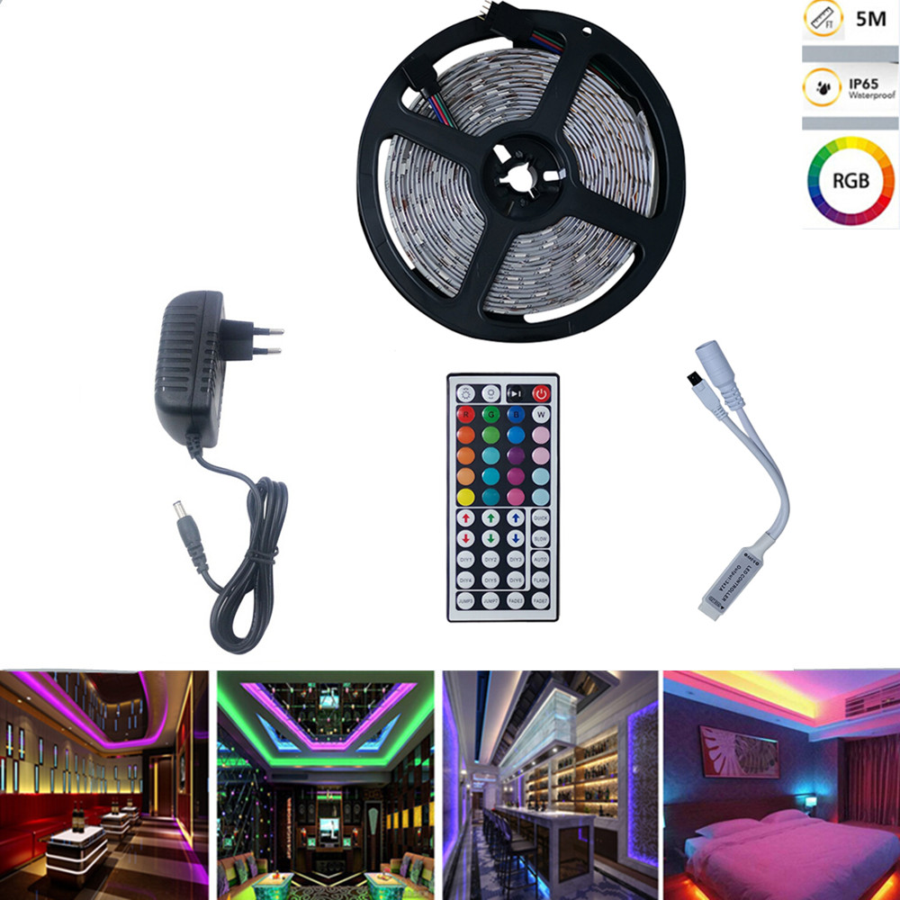 5M 150LEDs RGB Strip Lights+44Keys Remote Control+Adapter European regulations