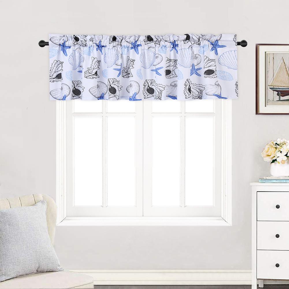 Haperlare 3Pcs Window Treatments Waterproof Starfish Print Small Window Curtain and Valance Set(2pcs Tiers and 1pcs Valance)