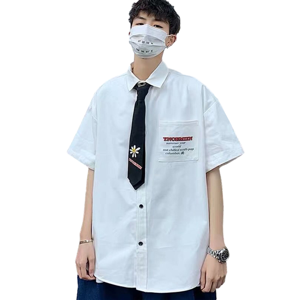Men's Shirt Summer Daisy Pattern Loose Short-sleeve Uniform Shirts with Tie White _L