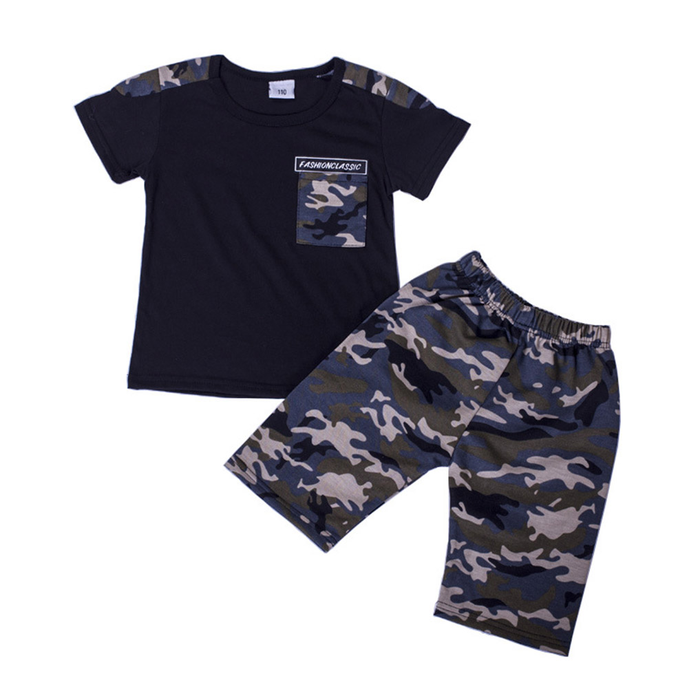 2pcs/set Boy Casual Suit Camouflage Shorts+Short Sleeves Shirt For 3-8 Years Old black_130cm