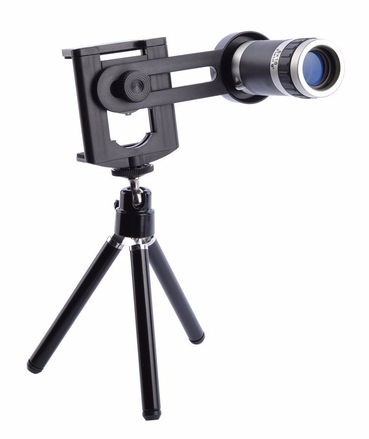 Universal Kit Phone Camera 8X Lens Zoom Telephoto Lenses Telescope with Clip Mobile Tripod Phone Holder for Cell Phone  Telescope + mobile phone clip + tripod