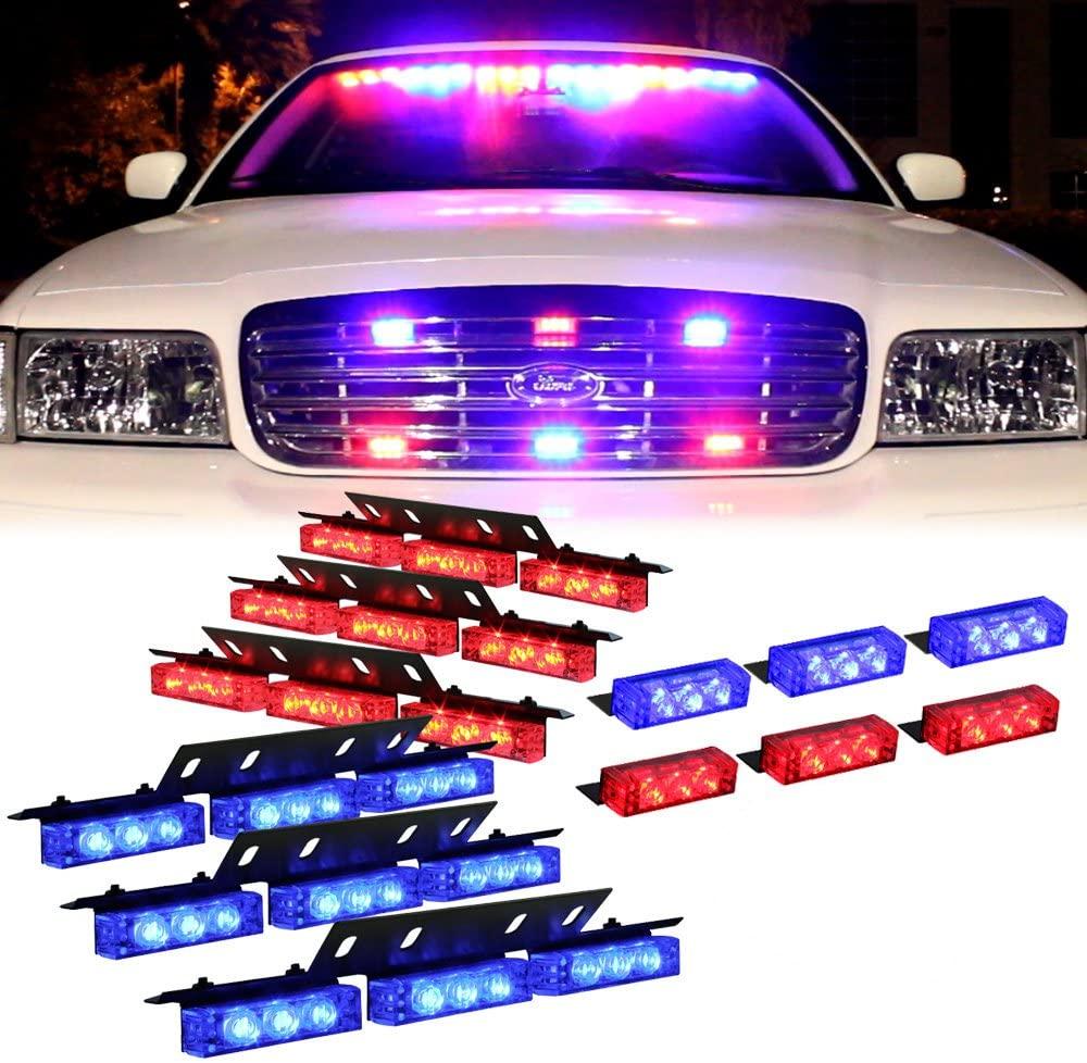 Amber 54 Leds Grille Deck Visor Dash Emergency Strobe Lights For Truck Construction Security Vehicles 3 red lights 3 blue lights