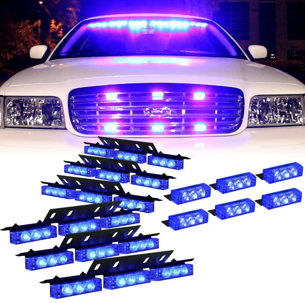 Amber 54 Leds Grille Deck Visor Dash Emergency Strobe Lights For Truck Construction Security Vehicles 6 blue lights