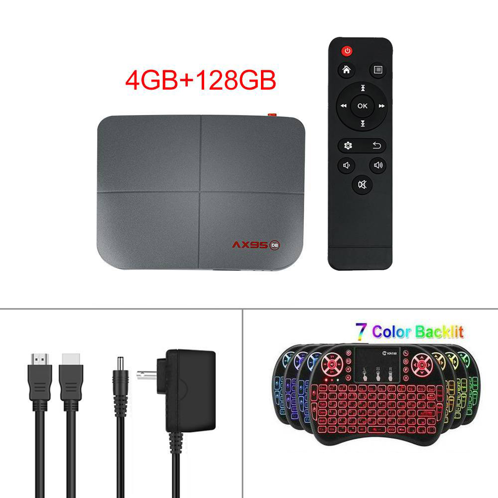 For Android 9.0 Tv  Box 10.0 4+218g Media Player Smart Tv Box Tv  Receiver 4+128G_British plug+I8 Keyboard