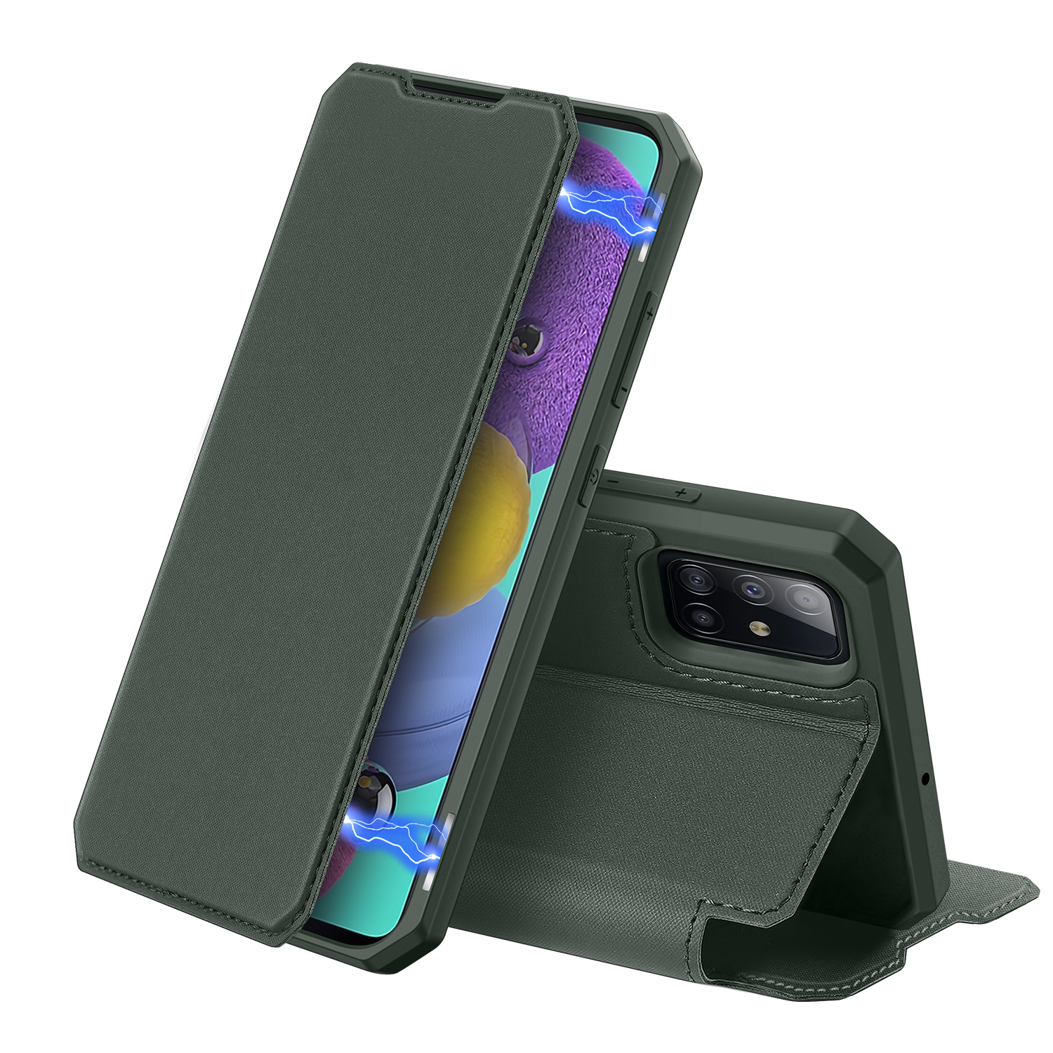 DUX DUCIS For Samsung A51 Leather Mobile Phone Cover Magnetic Protective Case Bracket with Card Slot Dark green