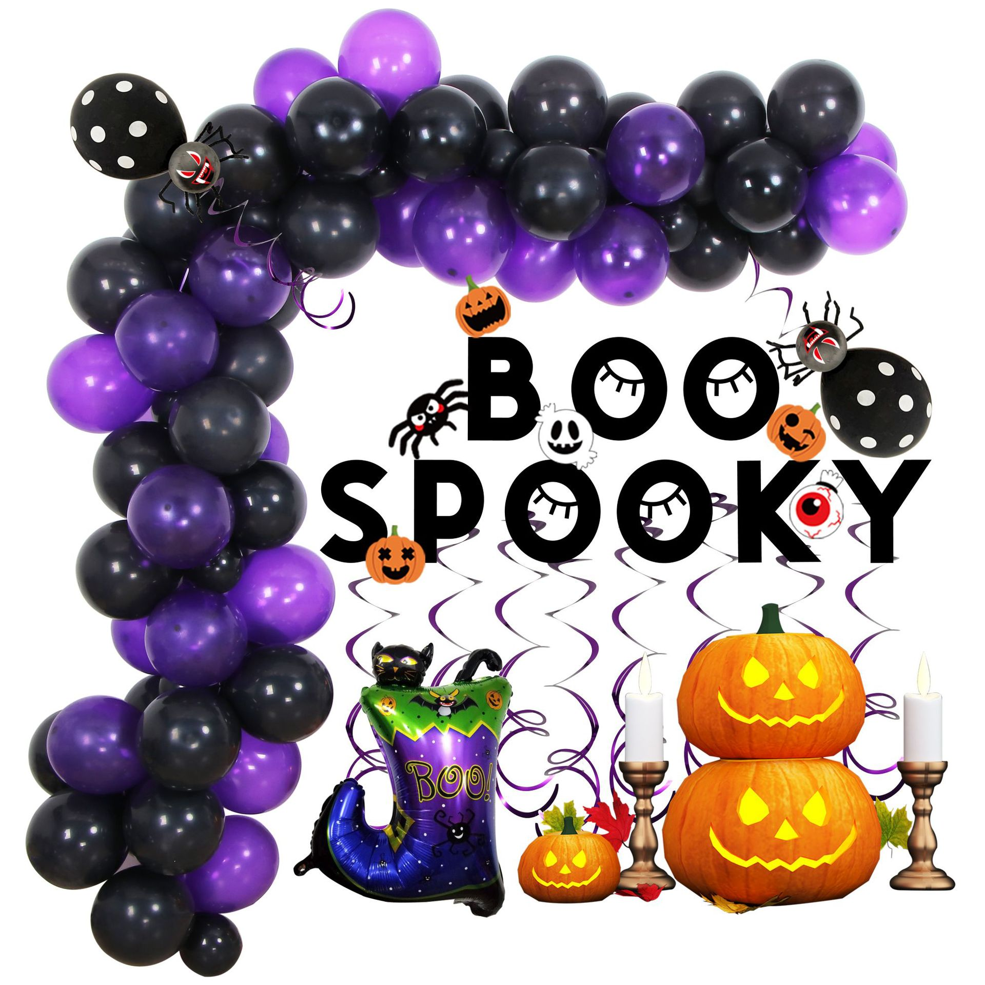 Aluminum Film 10 Inch Latex Balloon  Decoration Set Halloween Decorative Ornaments For Party Purple and black balloon chain set