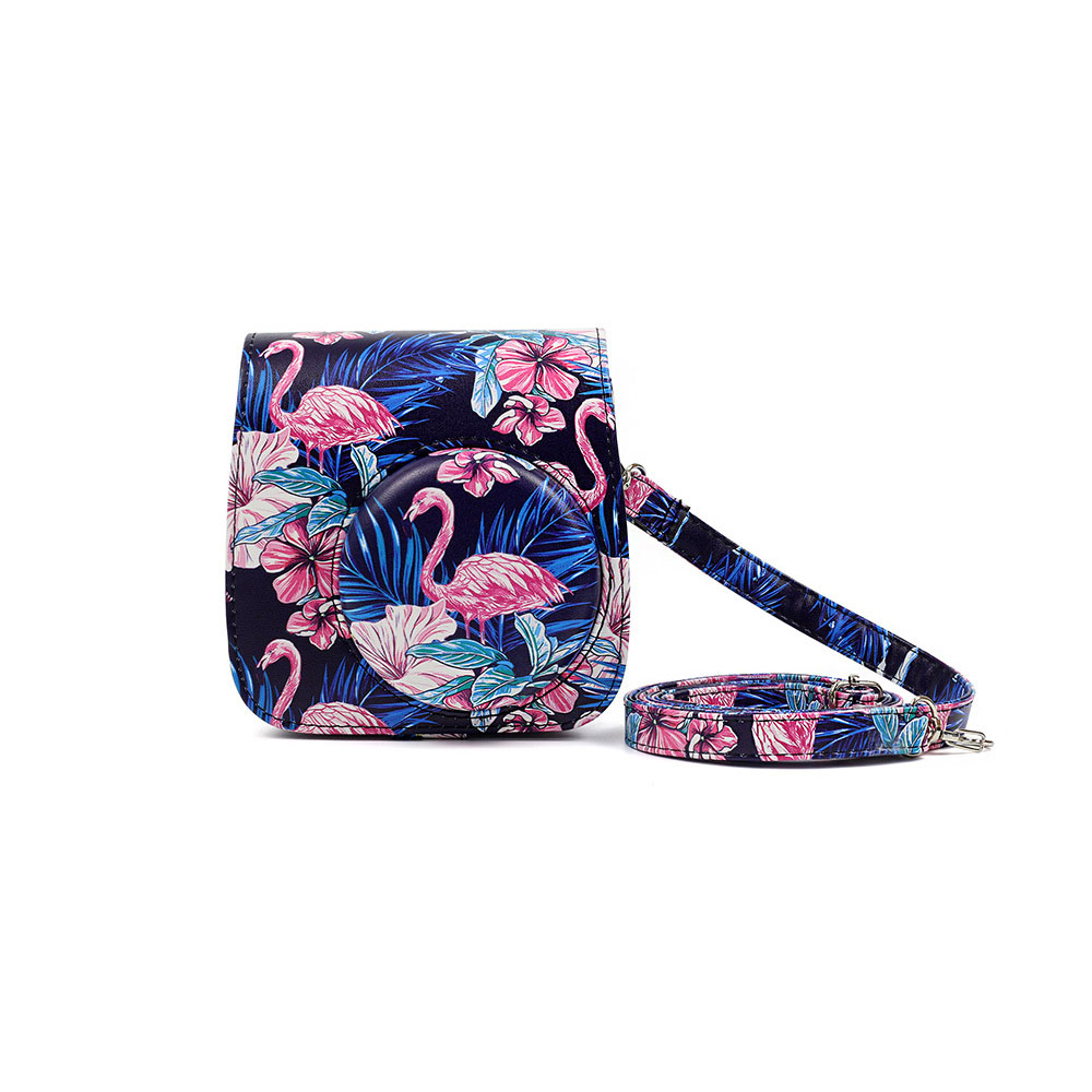 PU Leather Camera Strap with Shoulder Strap with Flamingo Printing for Mini9 Flamingo