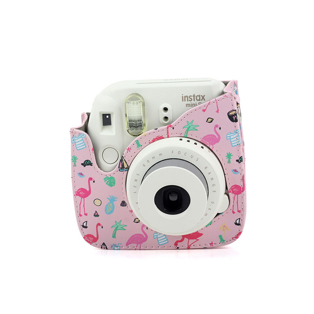 PU Leather Camera Strap with Shoulder Strap with Flamingo Printing for Mini9 Watermelon powder