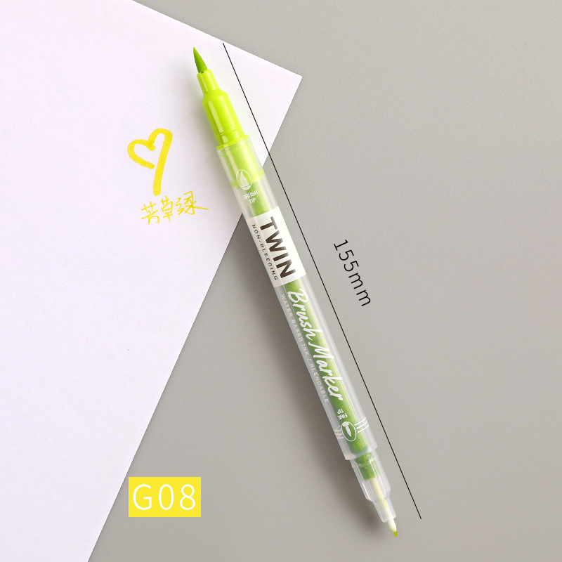 Double Head Marker Pen Multi Color Watercolor Water Based Hand Account Painting Pen Stationery Office Stationery G08 grass green_15cm