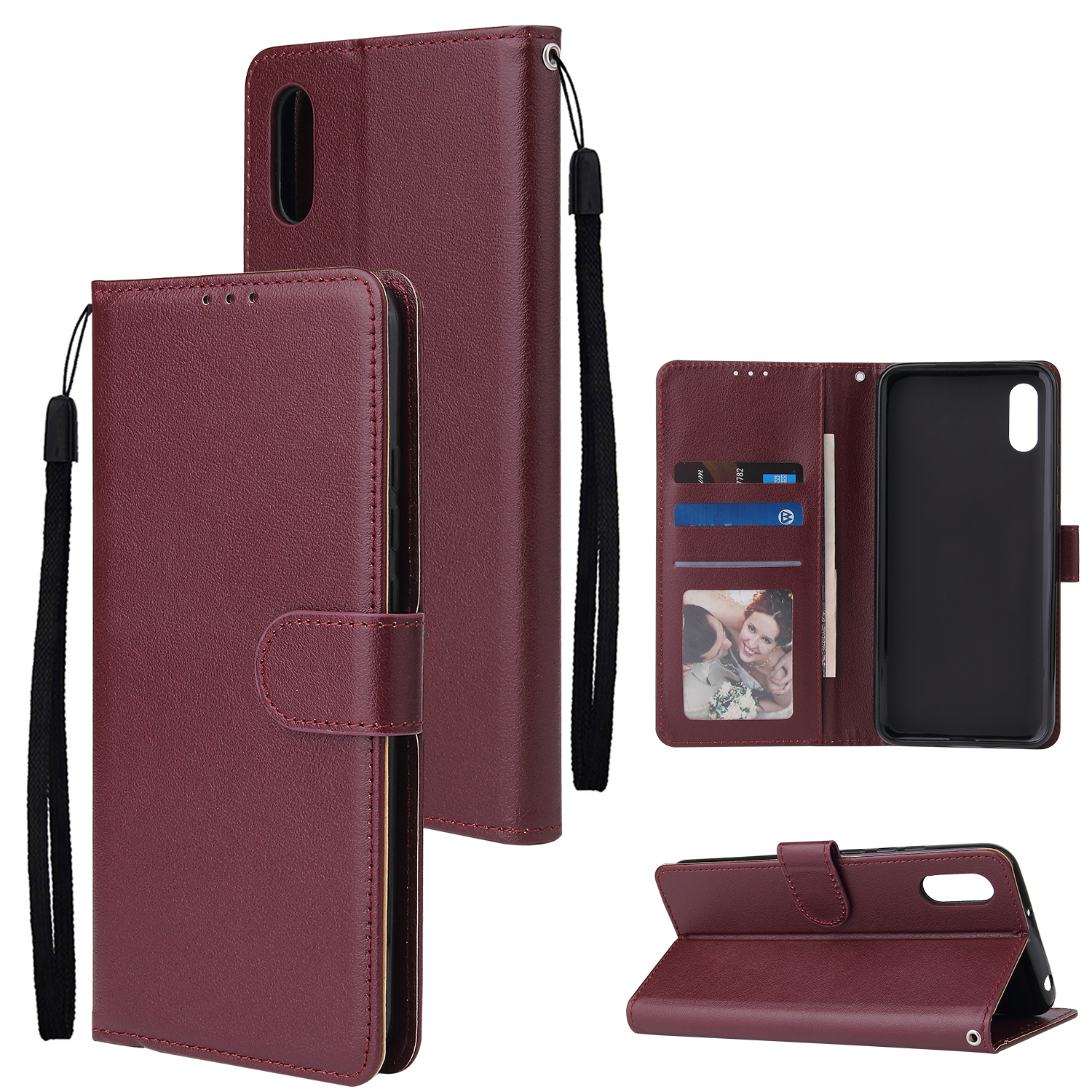 For Redmi 9A/Redmi 9C PU Leather Mobile Phone Cover with 3 Cards Slots Phone Frame Red wine