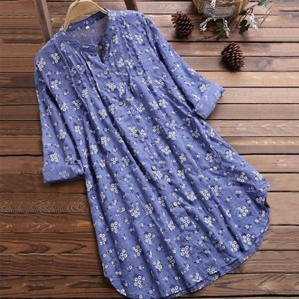 Women's V Neck Floral Print Long Sleeve Casual Blouse Top blue_4XL