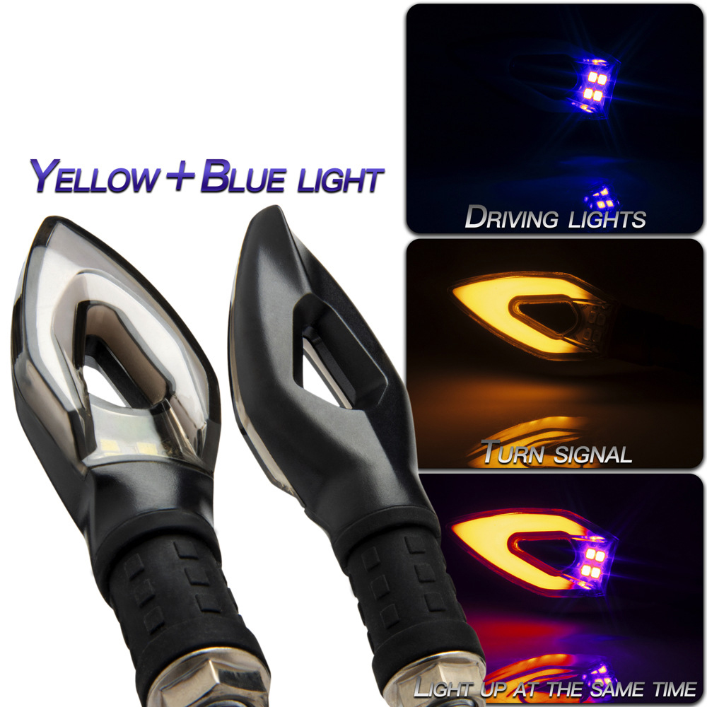 1 Pair Motorcycle  Turn  Signal Peach Heart-shaped Light-guided Dual-color Led Turn Signal Lights Motorcycle Accessories Yellow light (turn signal) + blue light (daytime running light)