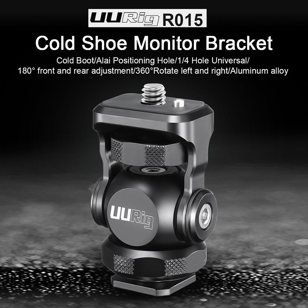 UURig R015 Monitor Bracket Mini Ballhead With Cold Shoe Mount Gimbal Rig for Sony Canon Nikon DSLR Camera Accessories Smartphone black