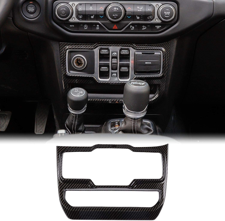 Carbon Fiber Window Control Panel Trim Cover Interior Decoration Accessories For Jeep Wrangler JL JLU Carbon black