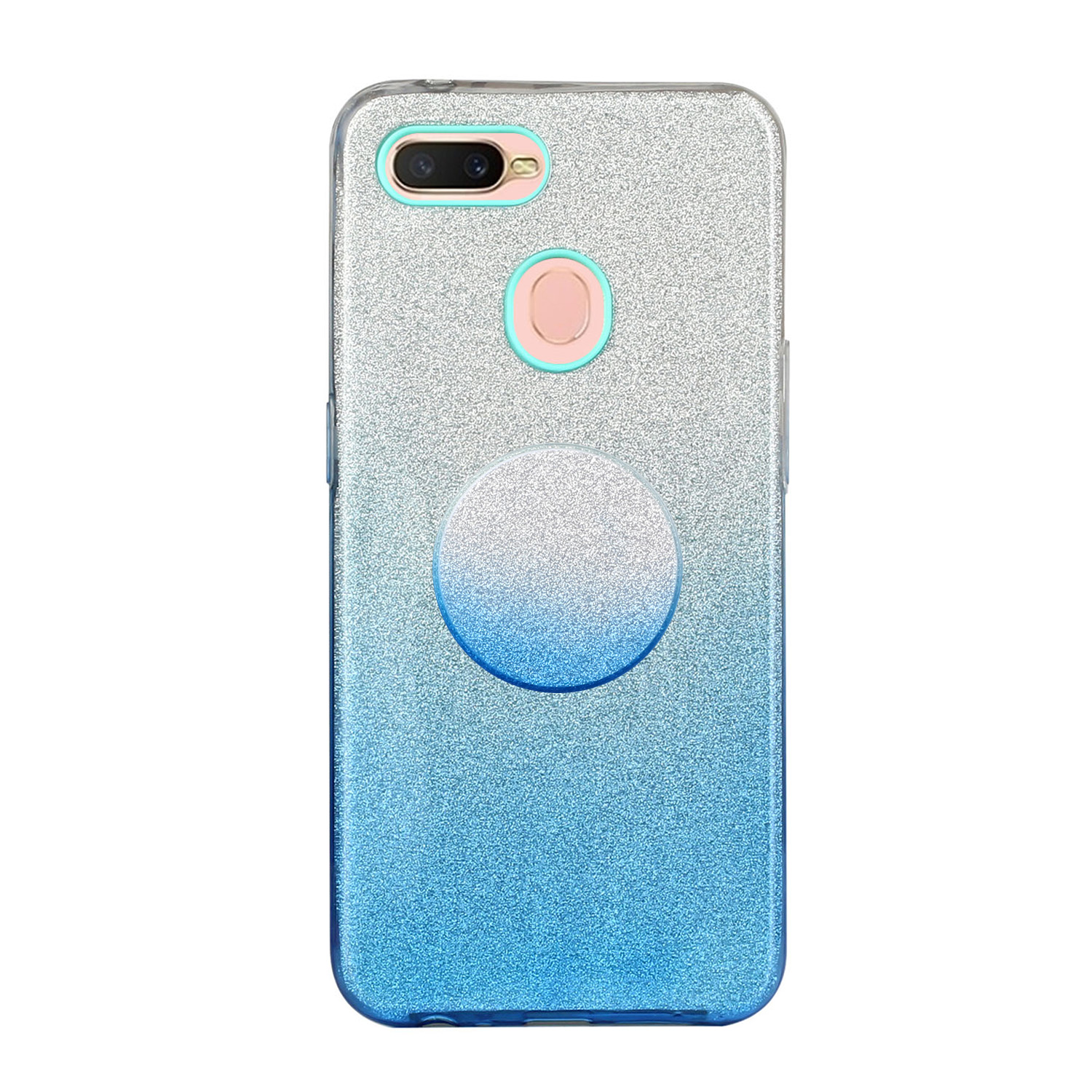 For OPPO F9/F9 Pro/A7X/F11 Pro/A8/A31 Phone Case Gradient Color Glitter Powder Phone Cover with Airbag Bracket blue