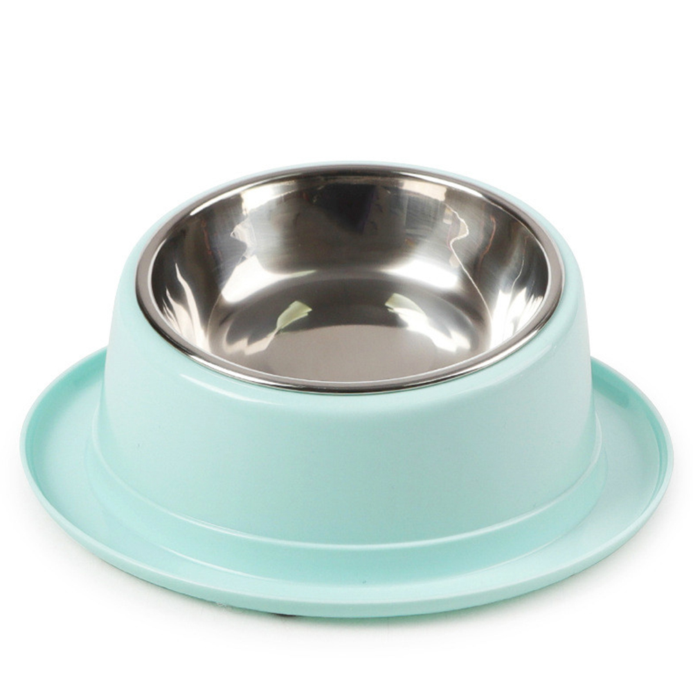 2 In1 Feeding  Bowl Inclined Surface Leak-proof Non-slip Neck Protector Cat Food Bowl 14*22cm_blue
