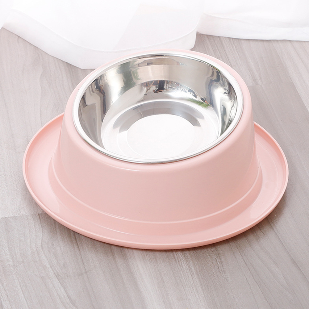 2 In1 Feeding  Bowl Inclined Surface Leak-proof Non-slip Neck Protector Cat Food Bowl 14*22cm_Pink