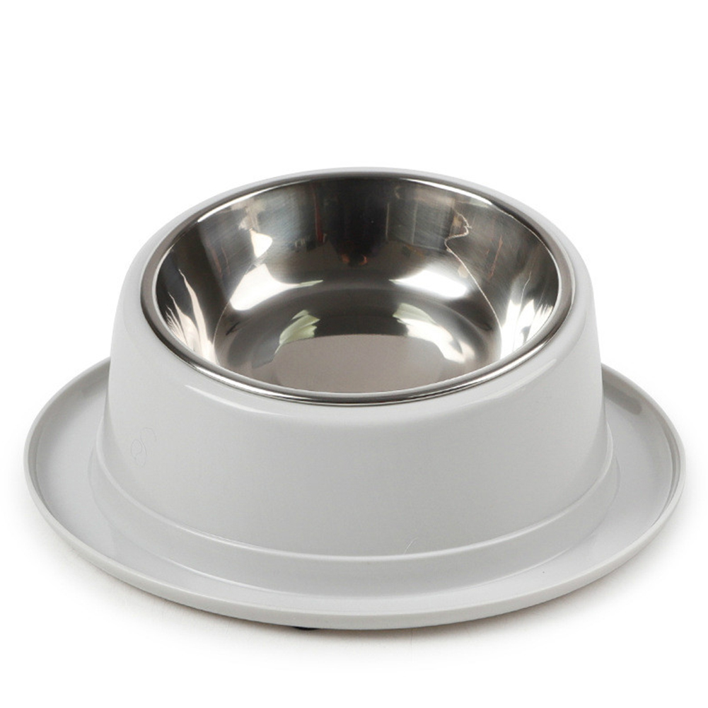 2 In1 Feeding  Bowl Inclined Surface Leak-proof Non-slip Neck Protector Cat Food Bowl 14*22cm_gray