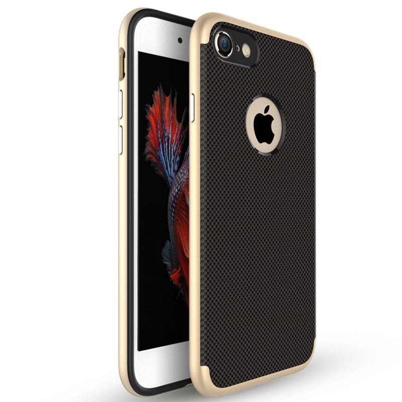 [US Direct] Rich Diamond Texture PC TPU Hard Protect Case Back Cover Bumper for iPhone 7 Gold