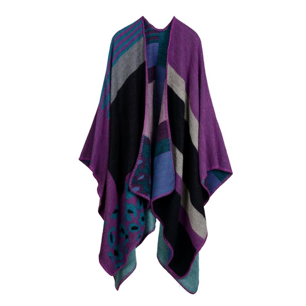 [EU Direct] Women's Winter Imitation Cashmere Reversible Oversized Blanket Poncho Cape Shawl Cardigans Leopard Red