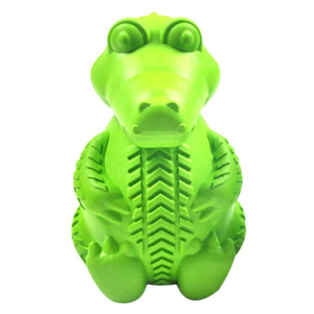 Rubber Dog Toothbrush Clean Teeth Bone Molars Stick Leakage Bite Resistant Dinosaur Designed Pet Toys as picture show