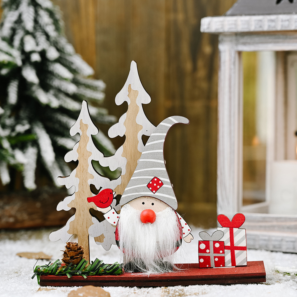 Christmas Wooden Faceless Doll Table Ornament for Home Tabletop Decoration