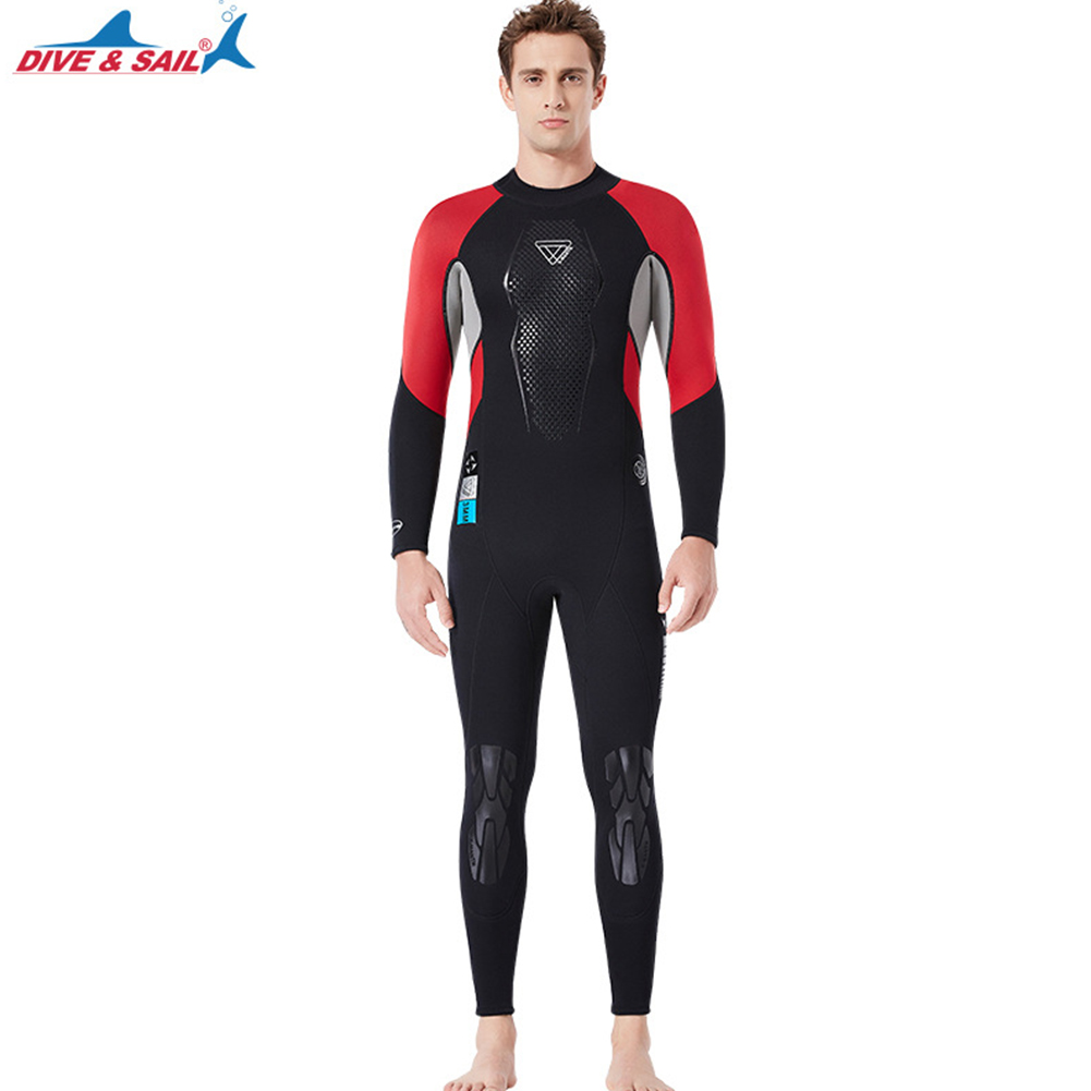 3mm Wetsuit Warm Neoprene Scuba Diving Spearfishing Surfing Long Sleeves Wetsuit Black/red_L
