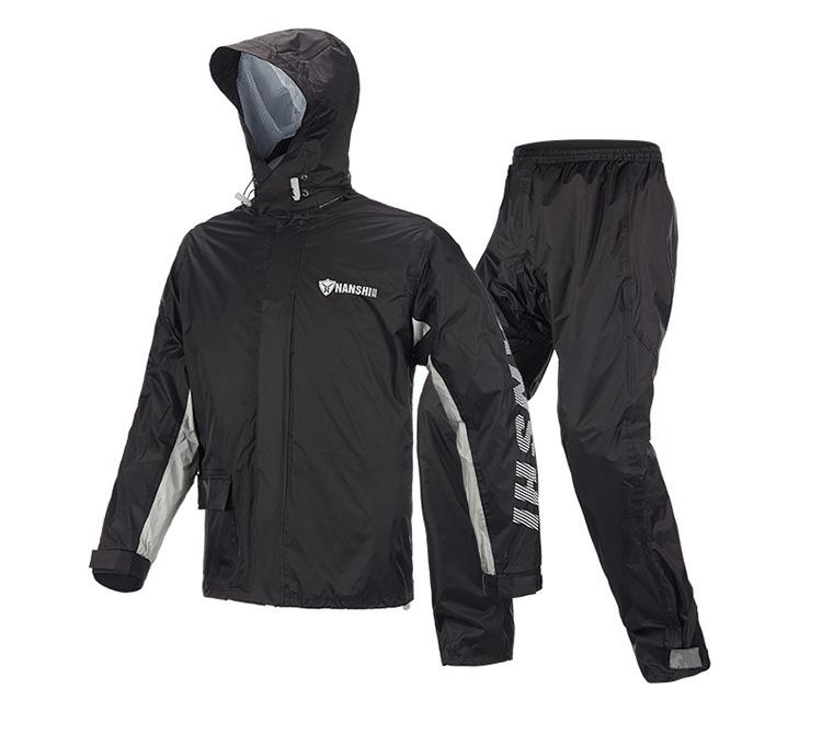 Raincoat Rainpants Suit Adult Split Raincoat Motorcycle Riding Water-proof Ultrathin Male Outdoor Hiking Raincoat Black suit_XL