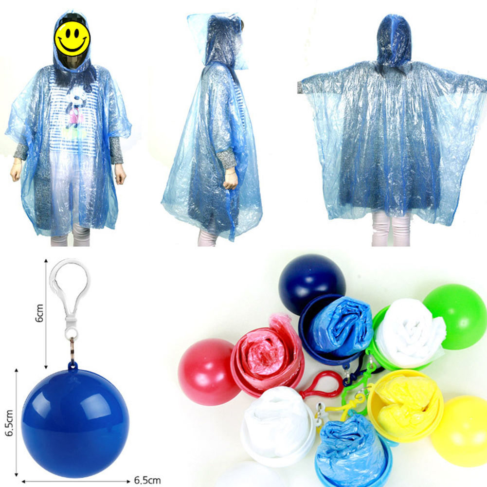 Adult Unisex Disposable Raincoat Ball Mini Portable Outdoor Activities Emergency Raincoat red