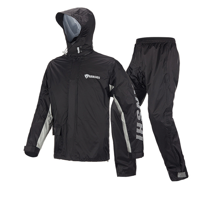Raincoat Rainpants Suit Adult Split Raincoat Motorcycle Riding Water-proof Ultrathin Male Outdoor Hiking Raincoat Black suit_L