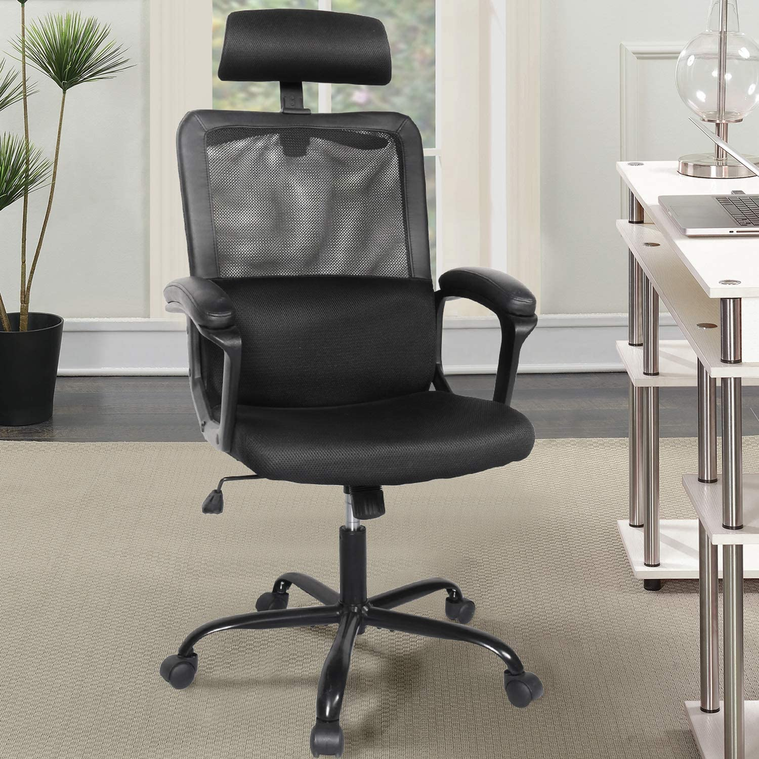 [US Direct] Office Chair, High Back Ergonomic Mesh Desk Office Chair with Padding Armrest and Adjustable Headrest Black